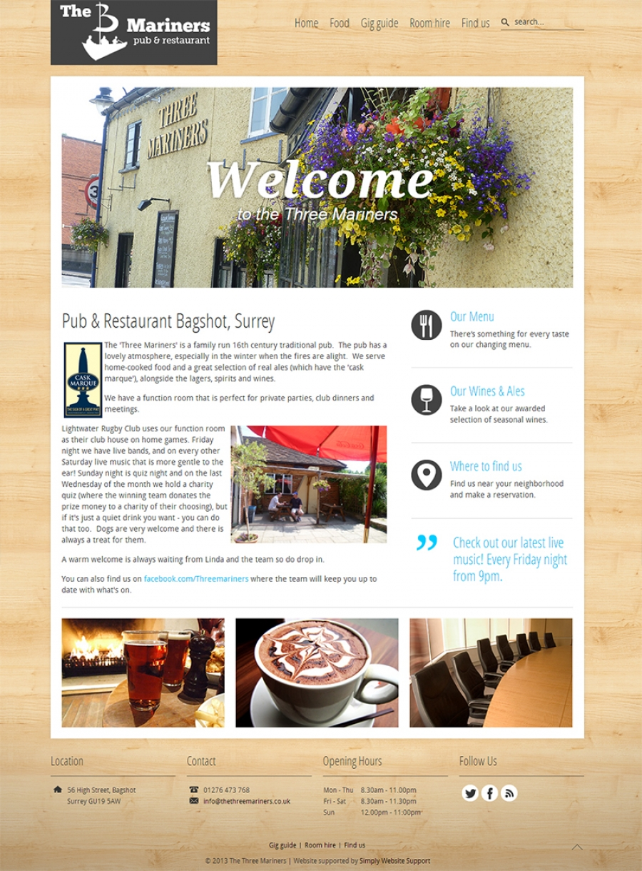 New website for local pub and restaurant
