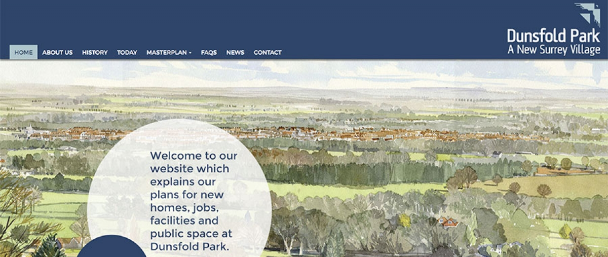 Website design to showcase masterplan for Surrey aerodrome