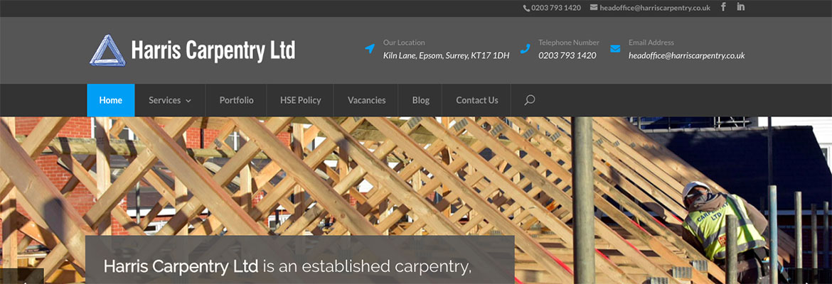 Harris Carpentry website design and build
