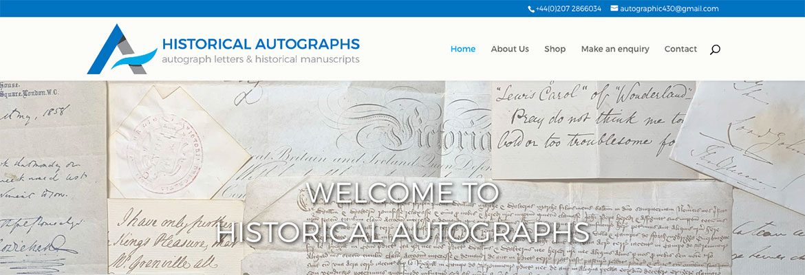 Historical Autographs Wordpress website development