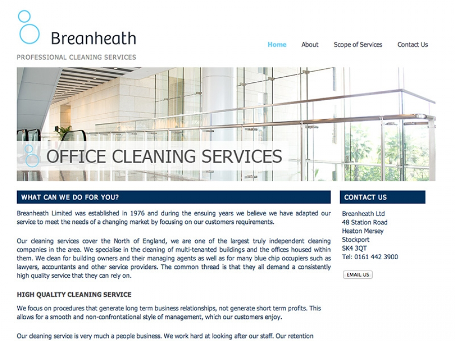 Website update for cleaning company